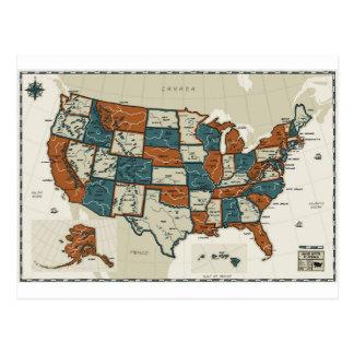 Los E.E.U.U. - Mapa del vintage Tarjeta Postal
