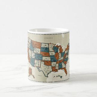 Los E.E.U.U. - Mapa del vintage Taza De Café