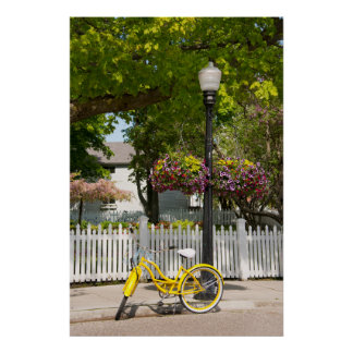 Los E.E.U.U., Michigan, isla de Mackinac. Bici Póster