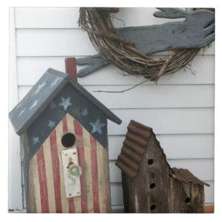 Los E.E.U.U., Missouri, Herman: Birdhouses patriót Azulejo Cuadrado Grande