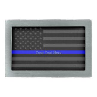 Los E.E.U.U. negros personalizados Blue Line finos Hebilla Cinturon Rectangular