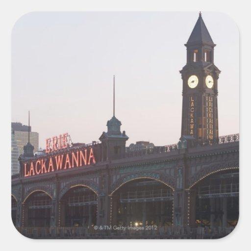 Los E.E.U.U., New Jersey, Hoboken, vieja estación Calcomanías Cuadradass Personalizadas