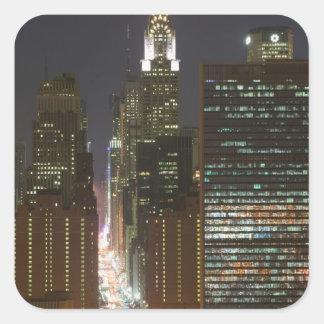 Los E.E.U.U., New York City, vista del Midtown con Pegatina Cuadrada
