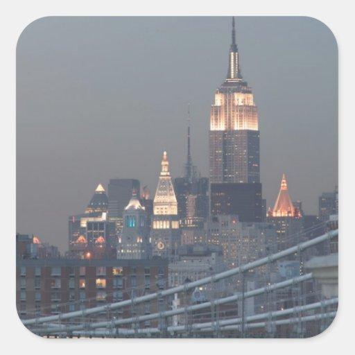 Los E.E.U.U., New York City, vista del puente de Pegatina Cuadrada