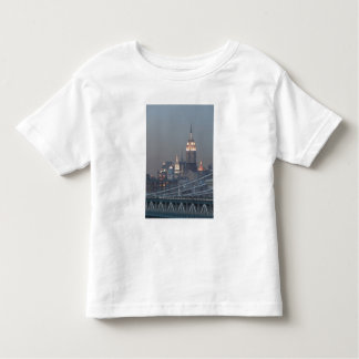 Los E.E.U.U., New York City, vista del puente de Playera De Bebé