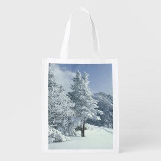 Los E.E.U.U., NH, los árboles nevados arrastran Sn Bolsa Para La Compra