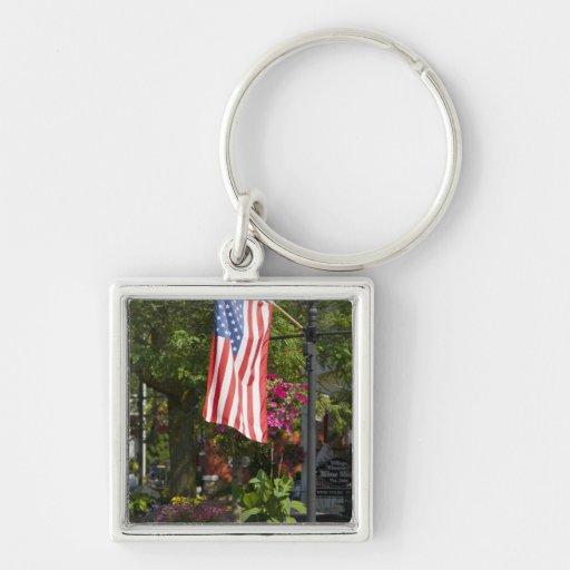 Los E.E.U.U., Nueva York, Lewiston. Bandera americ Llavero Cuadrado Plateado