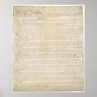 LOS E.E.U.U. página 1 de la constitución Póster