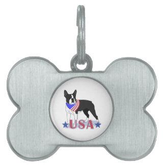 Los E E U U patrióticos Boston Terrier Placas De Nombre De Mascota