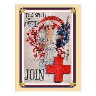 Los E.E.U.U. patrióticos - La Cruz Roja se une a Tarjetas Postales