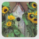 Los E.E.U.U., Pennsylvania. Birdhouse y jardín Pegatina Cuadrada