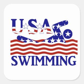 Los E.E.U.U. que nadan Pegatinas Cuadradas Personalizadas