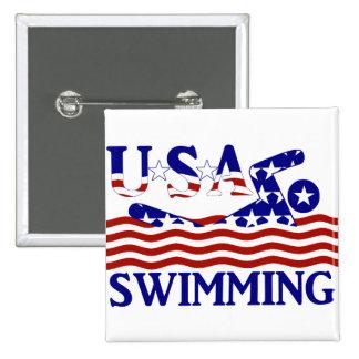 Los E.E.U.U. que nadan Pin Cuadrada 5 Cm