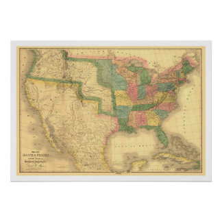 Los E.E.U.U. que sorprenden América trazan 1839 Posters