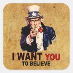Los E.E.U.U. - Quisiera que usted creyera Pegatina Cuadrada