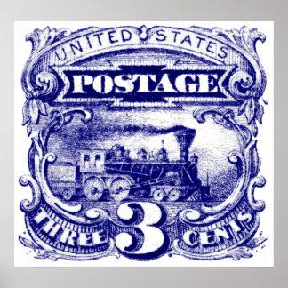 Los E E U U sello locomotor de 3 centavos de 1869 Poster
