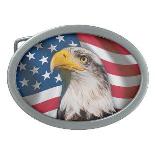 Los E E U U señalan por medio de una bandera con Hebillas Cinturon Ovales