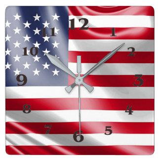 Los E.E.U.U. señalan por medio de una bandera para Reloj Cuadrado
