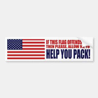 Los E.E.U.U. si esta bandera le ofende Pegatina Para Auto