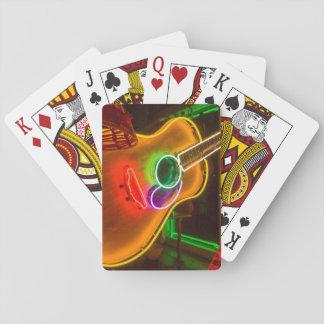Los E.E.U.U., Tejas, Austin. Guitarra de neón en Barajas De Cartas