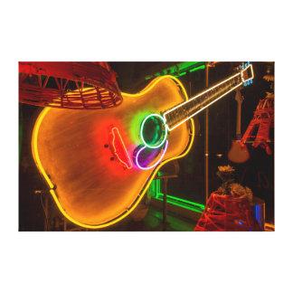 Los E.E.U.U., Tejas, Austin. Guitarra de neón en Impresión En Lienzo