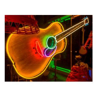 Los E.E.U.U., Tejas, Austin. Guitarra de neón en Tarjeta Postal