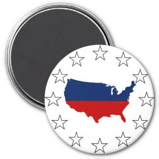 Los E.E.U.U. todos blanco y azul rojos Imán Redondo 7 Cm