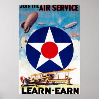 LOS E.E.U.U. - Únase al servicio aéreo Aprender-Ga Posters