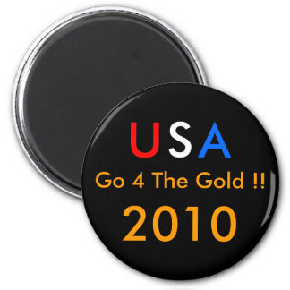 ¡Los E.E.U.U. van 4 el ORO!! 2010 Imán Redondo 5 Cm
