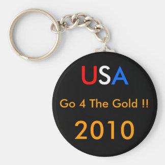 ¡Los E.E.U.U. van 4 el ORO!! 2010 Llavero Redondo Tipo Pin