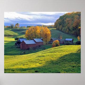 Los E.E.U.U., Vermont, granja de Jenne. Colinas ve Poster