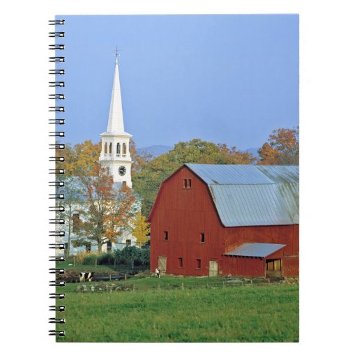 Los E.E.U.U., Vermont, Peacham. Un granero y un bl Libros De Apuntes Con Espiral
