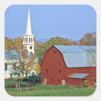 Los E.E.U.U., Vermont, Peacham. Un granero y un Pegatina Cuadrada