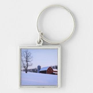 Los E.E.U.U., Virginia, Shenandoah Valley, granero Llavero Cuadrado Plateado