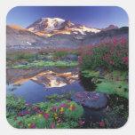 Los E.E.U.U., Washington, el Monte Rainier NP, Pegatina Cuadrada