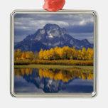 Los E.E.U.U., Wyoming, Teton magnífico NP. Contra Ornamentos De Navidad