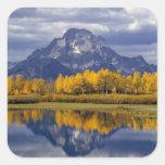 Los E.E.U.U., Wyoming, Teton magnífico NP. Contra Calcomanía Cuadradas