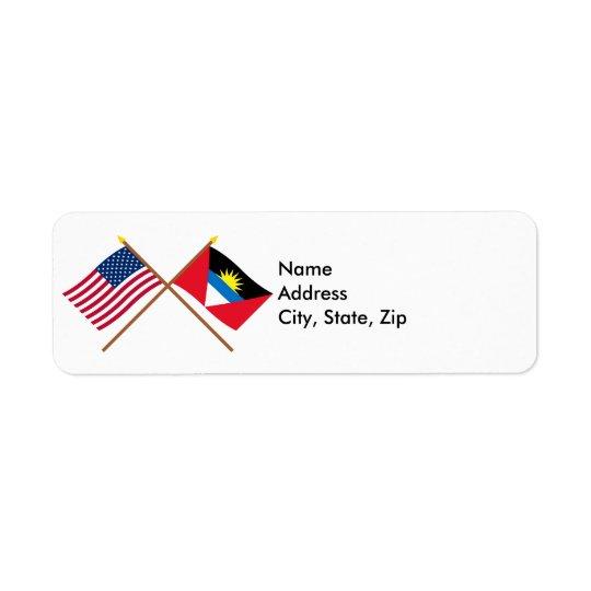 Los E.E.U.U. y Antigua y banderas cruzadas Barbuda Etiqueta De Remitente
