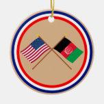 Los E.E.U.U. y banderas cruzadas Afganistán Adorno Para Reyes