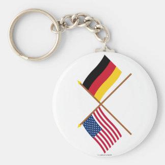 Los E.E.U.U. y banderas cruzadas Alemania Llavero Redondo Tipo Pin