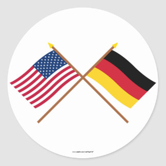 Los E.E.U.U. y banderas cruzadas Alemania Pegatina Redonda