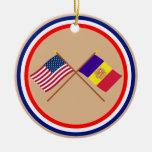 Los E.E.U.U. y banderas cruzadas Andorra Ornamentos De Reyes