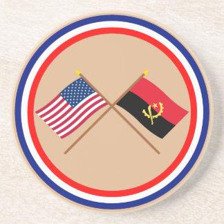 Los E.E.U.U. y banderas cruzadas Angola Posavasos Cerveza