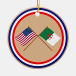 Los E.E.U.U. y banderas cruzadas Argelia Ornamento Para Arbol De Navidad