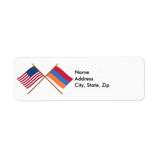 Los E.E.U.U. y banderas cruzadas Armenia Etiquetas De Remite