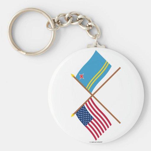 Los E.E.U.U. y banderas cruzadas Aruba Llaveros Personalizados