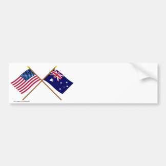 Los E.E.U.U. y banderas cruzadas Australia Pegatina De Parachoque
