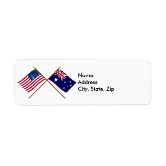 Los E.E.U.U. y banderas cruzadas Australia Etiquetas De Remite