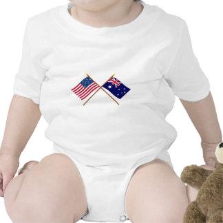 Los E.E.U.U. y banderas cruzadas Australia Traje De Bebé