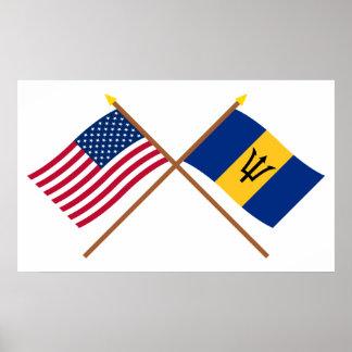 Los E.E.U.U. y banderas cruzadas Barbados Impresiones